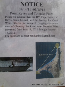 shark warning sign point reyes national seashore