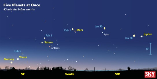 Here's the view 45 minutes before sunrise as plotted for February 1st, about when Mercury should be easiest to spot. For several days the waning Moon is marching eastward among the assembled planets. Sky & Telescope diagram - See more at: http://www.skyandtelescope.com/press-releases/five-planets-at-once/#sthash.rfuYXBXp.dpuf